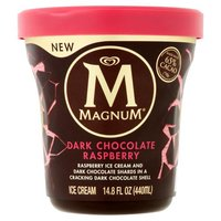 Enjoy Magnum by the spoonful with Magnum Tubs.  Raspberry ice cream with thick dark chocolate shards, all surrounded by a cracking layer of dark chocolate.  Made with Belgian chocolate.