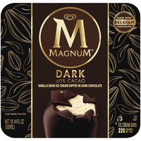 MAGNUM Dark Ice Cream bars are made with silky vanilla bean ice cream dipped in dark chocolate.