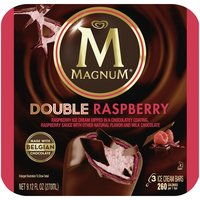 MAGNUM Double Raspberry Ice Cream Bars are made with the perfect balance of raspberry ice cream, rich raspberry sauce, and Belgian Chocolate.