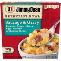 Filled with sausage crumbles, country gravy, eggs, homestyle potatoes, and cheddar cheese, our breakfast bowls have 12 grams of protein per serving, making it the perfect for your breakfast routine.
