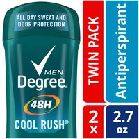 Degree Men Cool Rush helps keep you fresh and dry, no matter what. A men's antiperspirant that offers 48 hour Original Protection with an energizing burst of crisp, green arctic freshness.