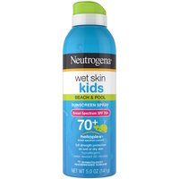 Help protect kids' skin from sun damage at the beach or pool. This Broad Spectrum SPF 70+ sunscreen spray applies to wet or dry skin and is water-resistant up to 80 minutes.
