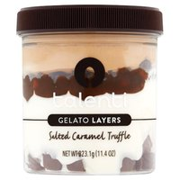 First layer:  Talenti Sea Salt Caramel Gelato; Second layer: Chocolatey Cookies; Third Layer: Dulce de Leche; Fourth Layer:  Talenti Sea Salt Caramel Gelato; Fifth Layer:  Chocolatey Caramel Truffles