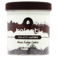 First layer:  Talenti Mediterranean Mint Gelato; Second layer: Chocolatey Cookies; Third Layer: Hot Fudge; Fourth Layer:  Talenti Mediterranean Mint Gelato; Fifth Layer:  Chocolate Cookie Pieces