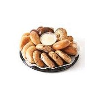 Assorted bagels served with cream cheese. Includes plain, everything, cinnamon raisin, and sesame varieties. Serves 24      Please note: Product images may differ than actual product. Please contact your store for any specific item questions. Kosher items where available. Kosher items not available in all stores.