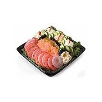 Smoked whitefish, whitefish salad, smoked salmon, cream cheese, sliced cucumbers, onions and tomatoes; Serves 8-10