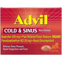 Pain Reliever/Fever Reducer & Decongestant. Powerful decongestant opens airways to relieve pressure. Advil Cold & Sinus relieves aches, pains, fevers, and headaches. Non-drowsy formula