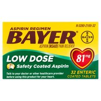 Bayer Bayer Low Dose Safety Coated Aspirin 81mg Tablets, 32 Each