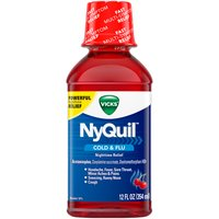 Cherry flavor liquid. When using DayQuil or NyQuil products, carefully read each label to ensure correct dosing. Use as directed. Keep out of reach of children. Keep out of reach of children.