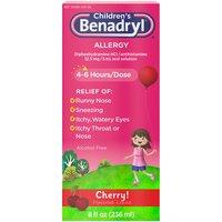 BENADRYL Children's Allergy Liquid, 8 Fluid ounce