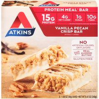 Atkins Vanilla Pecan Crisp Meal Bars - 5 Bars, 8.47 Ounce