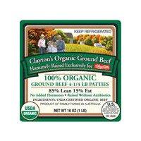 Clayton 100% Ground Beef Organic Patties, 16 Ounce