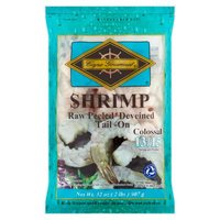 Cape Gourmet Shrimp, Colossal Raw Peeled Deveined Tail-On, 32 Ounce