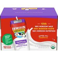 Horizon Organic Horizon Organic Vanilla Lowfat Milk - 12 Pack, 96 Fluid ounce