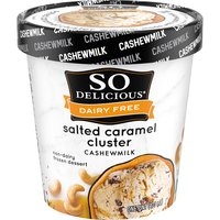 Non-Dairy. A sweet & salty delight featuring dark chocolate covered cashews & a river of salted caramel.