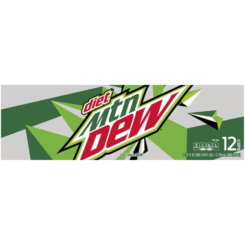 12-12 oz cans. Gives you the charge to take on your day with the intense refreshment and a kick. The only diet with Dew in it.  #DOTHE DEW #MountainDew