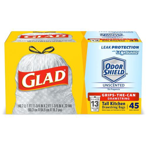 White Trash Bag. Glad OdorShield Trash bags are equipped with LeakGuard for added leak protection, and an inner layer for reinforce strength.