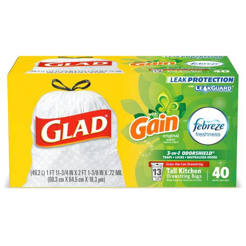 White Trash Bag, Gain Original with Febreze Freshness. Glad combines OdorShield technology and Febreze freshness to provide up to 5 days odor control guaranteed.