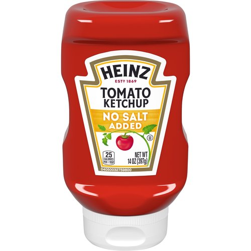 Heinz No Salt Added Tomato Ketchup: Made with AlsoSalt, a great-tasting salt alternative. Enjoy on chicken, seafood and more.