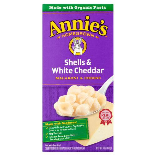 Made with Organic Pasta. No Artificial Flavors, Synthetic Colors, or Preservatives. Made with 100% Real Cheese. Shells & White Cheddar.