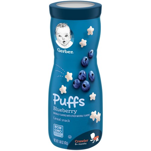 Make every little bite count with Gerber Puffs Cereal Snack.  Each serving is baked with 2 grams of whole grains, and 5 essential vitamins and minerals for babies.