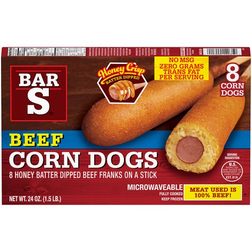 8 Corn Dogs. Meat Used is 100% Beef!. Honey Crisp Batter Dipped.