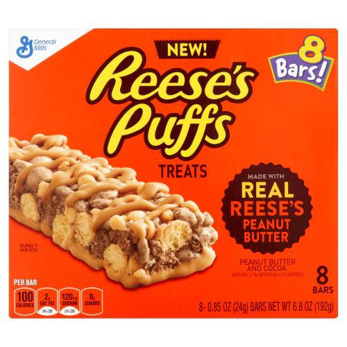 8 bars made with real Reese's Peanut Butter. Natural and artificially flavored.