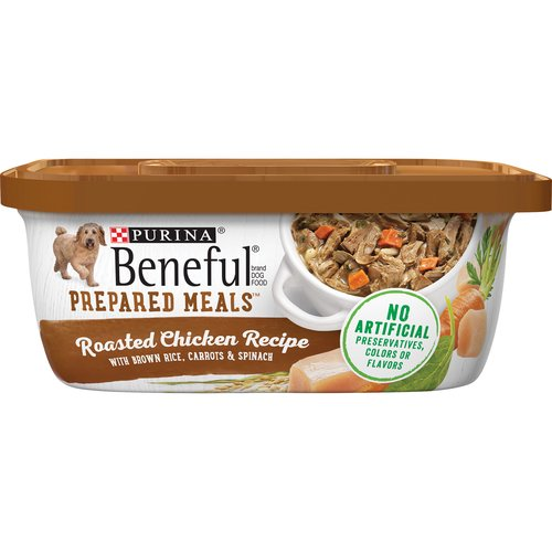 Beneful brand Dog Food Prepared Meals helps keep your dog healthy and happy. Includes real wholesome ingredients that you can see, in a resealable container.