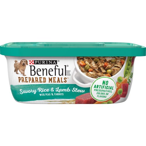 With Peas & Carrots. 100% Complete Nutrition for Puppies & Adult Dogs. Each Beneful Prepared Meal is made with a variety of these real, wholesome ingredients.