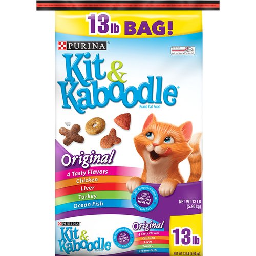 13.00 lb. Invite your cat to a banquet of flavors with Purina Kit & Kaboodle Original adult dry cat food. This recipe combines the flavors of chicken, turkey, liver and ocean fish for a taste cats crave.