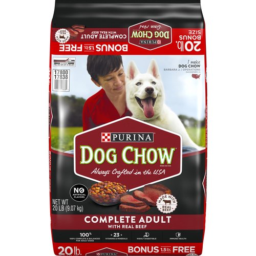 20.00 lb. Made with Real Beef. 100% Complete & Balanced for Adult Dogs. 23 Vitamins & Minerals. Immune Health. Skin & Coat.