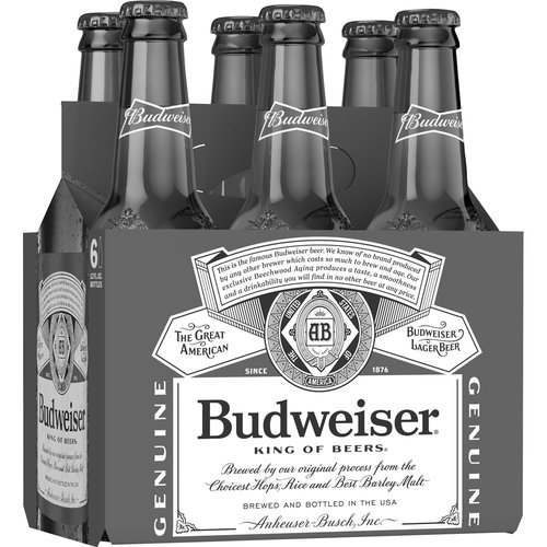 12 fl oz each. Budweiser is a medium-bodied, flavorful, crisp American-style lager. Brewed with the best barley malt and a blend of premium hop varieties, it is an iconic beer, celebrated in America.