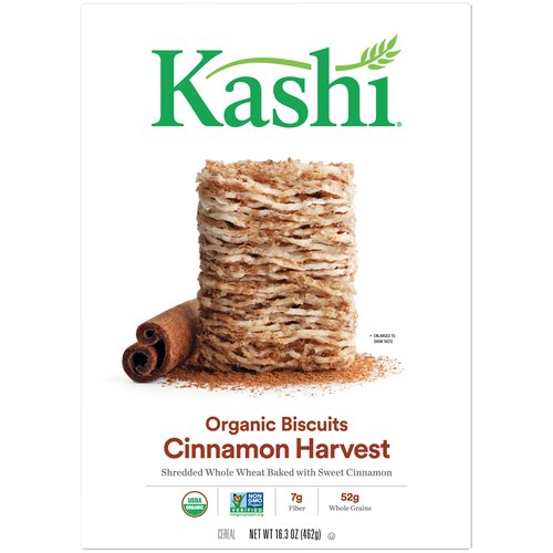 Lightly sweetened Whole Wheat Biscuits baked with cinnamon.  47 g whole grains. 5 g fiber. 1 g fat per serving. Sodium free. Non-GMO. Certified USDA organic.