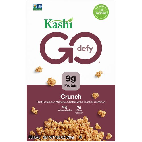 Crunchy toasted 7 whole grain and sesame clusters with honey and cinnamon. 9 g protein. 8 g fiber. 3 g fat per serving. 16 g whole grains. Non-GMO.