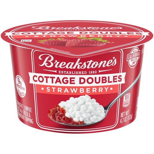 2% Milkfat lowfat cottage cheese and strawberry topping. Real California milk. 9 grams of protein.
