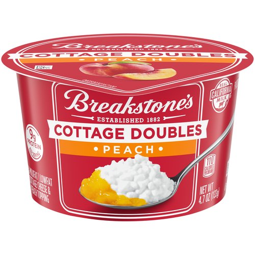 2% Milkfat lowfat cottage cheese and peach topping. Real California milk. 9 grams of protein.