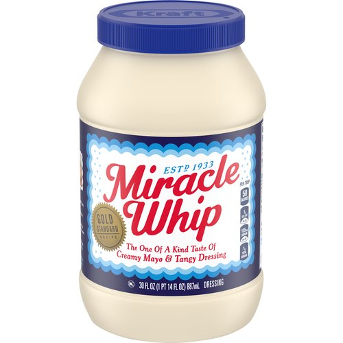 Miracle Whip is crafting salad dressing which is half the fat and calories of mayonnaise.