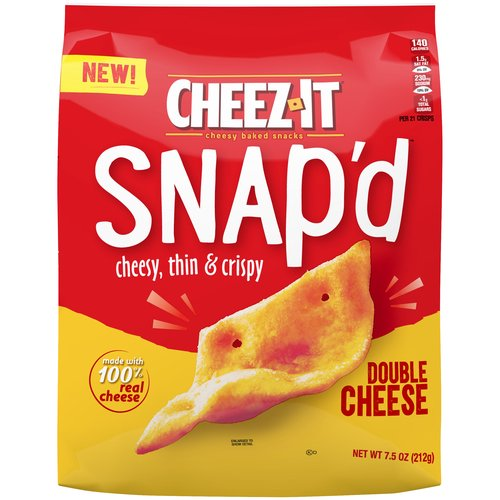 Thin and crispy cheesy baked snacks with big cheese taste inside and out. Turn up the cheese volume with the satisfying crunch of Cheez-It Snap'd.