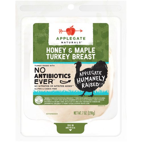 Delicately flavored with honey and maple syrup. What a sweet addition to your favorite sandwich.  • Applegate, Natural Honey & Maple Turkey Breast, 7oz  • No Antibiotics or Added Hormones  • No Chemical Nitrites or Nitrates  • No Artificial or GMO Ingredients  • Humanely Raised  • Gluten Free  • Dairy Free  • Casein Free