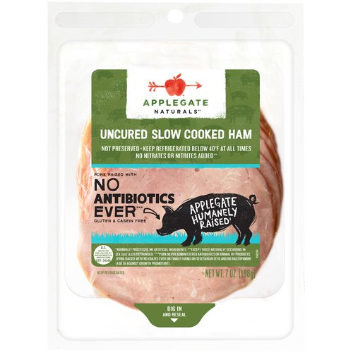 Pre-pack slices. No Nitrates or Nitrites added -Not Preserved. No Antibiotics No Nitrites Added. Used; Not Fed Animal By-Products; Gluten Free.