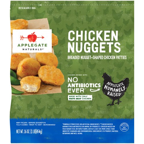 They're crisp, delicious and perfectly dip-able.   • Applegate, Natural Chicken Nuggets Family Size, 16 oz (Frozen)  • No Antibiotics or Added Hormones  • No Chemical Nitrites or Nitrates  • No Artificial or GMO Ingredients  • Humanely Raised  • Dairy Free  • Casein Free