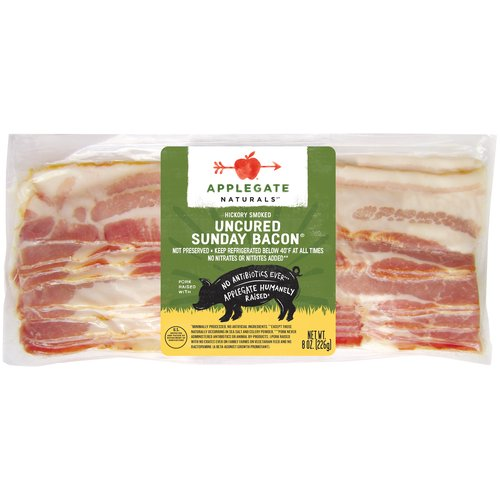 No nitrites added - uncured. Not preserved. Good old-fashioned hardwood smoked bacon. Enjoy it on Sunday or any other day for that matter.                                                                                                                                                                                                  • Applegate, Natural Uncured Sunday Bacon, 8oz  • No Antibiotics or Added Hormones  • No Chemical Nitrites or Nitrates  • No Artificial or GMO Ingredients  • Humanely Raised  • Gluten Free  • Dairy Free  • Casein Free