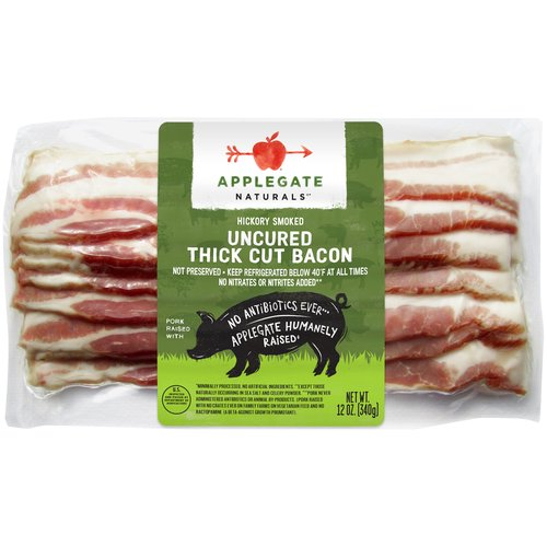 Hardwood smoked and sliced thick, fulfilling all your bacon needs.  • Applegate, Natural Uncured Thick Cut Bacon, 12oz   • No Antibiotics or Added Hormones  • No Chemical Nitrites or Nitrates  • No Artificial or GMO Ingredients  • Humanely Raised  • Gluten Free  • Dairy Free  • Casein Free