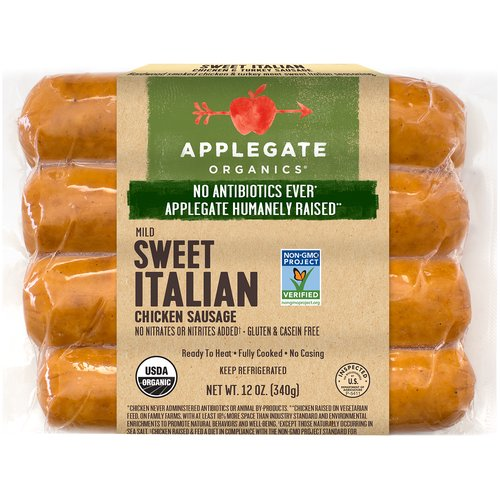 When fennel and garlic collide. Mangia!  • Applegate Organic Sweet Italian Sausage 12oz  • No Antibiotics or Added Hormones  • No Chemical Nitrites or Nitrates  • Non-GMO Project Verified  • Humanely Raised  • Whole 30 Approved  • Gluten Free  • USDA Organic   • Sugar Free  • Dairy Free  • Casein Free