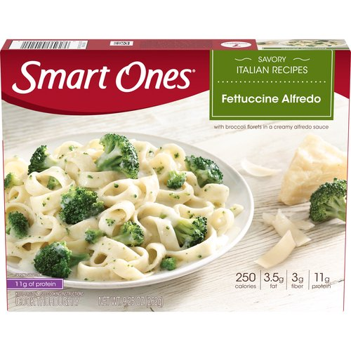 Whole grain fettuccini noodles tossed with tender broccoli florets in a creamy alfredo sauce.