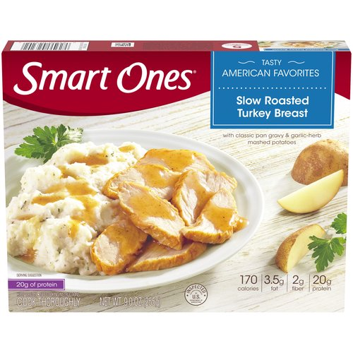 With a classic pan gravy & garlic-herb mashed potatoes. 170 calories. 5 g fat. 2 g fiber. 16 g protein. 4 points.