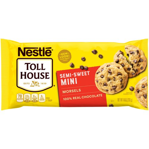 100% real semi-sweet chocolate. No artificial colors or flavors. No preservatives. Gluten Free. Great for the traditional chocolate chip cookie with a smaller morsel. Great for pancakes