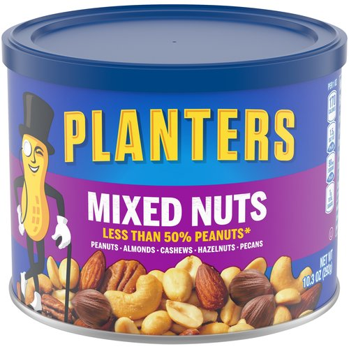 An irresistible mix of peanuts, almonds, cashews, pecans, and Brazil nuts. Resealable canister keeps the nuts fresh. Enhanced with a dash of sea salt. Perfect for those keeping kosher.