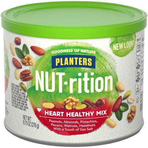 Mix of peanuts, almonds, pistachios, pecans, walnuts & hazelnuts. Contains no trans fats and no cholesterol