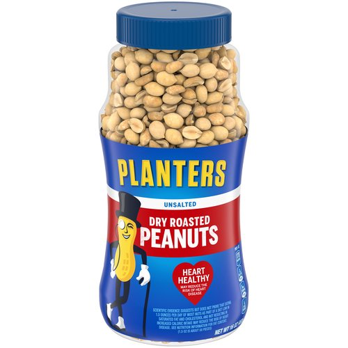 Plastic, resealable canister makes it easy to keep the peanuts fresh. Dry roasted and unsalted (but you'll never miss the salt).